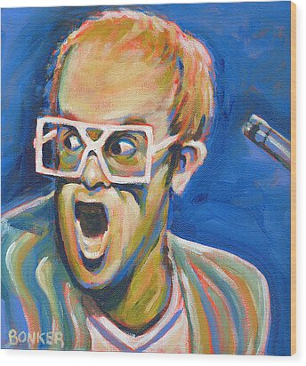 Elton John Wood Print by Buffalo Bonker