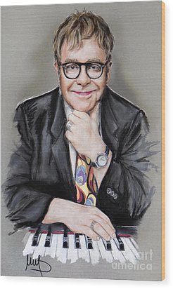 Elton John Wood Print by Melanie D