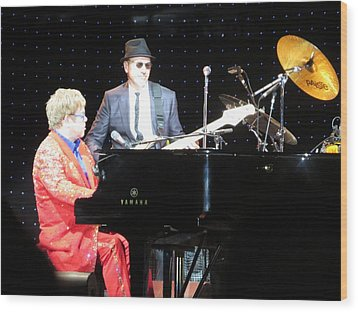 Elton Plays The Blues In Macon Ga Wood Print by Aaron Martens