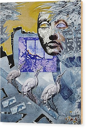 Wood Print featuring the mixed media Elusive Gray Dream by Hartmut Jager