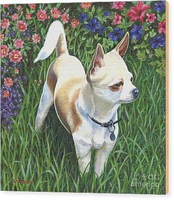 Elvis Wood Print by Catherine Garneau