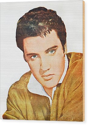 Elvis Colored Portrait Wood Print