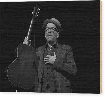 Wood Print featuring the photograph Elvis Costello by Jeff Ross