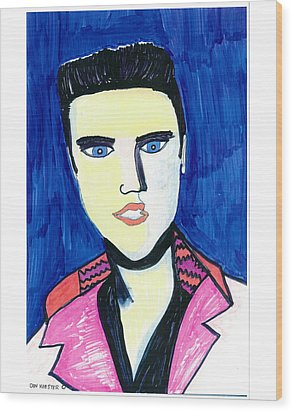Wood Print featuring the painting Elvis by Don Koester