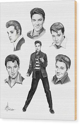 Elvis Elvis Elvis Wood Print by Murphy Elliott