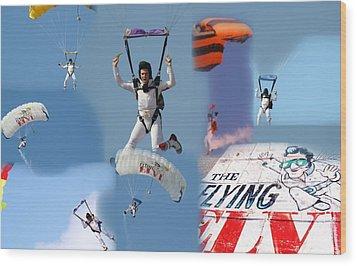 Elvis In The Sky Wood Print