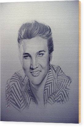 Wood Print featuring the drawing Elvis by Lori Ippolito