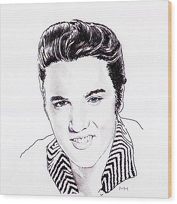 Elvis Wood Print by Martin Howard