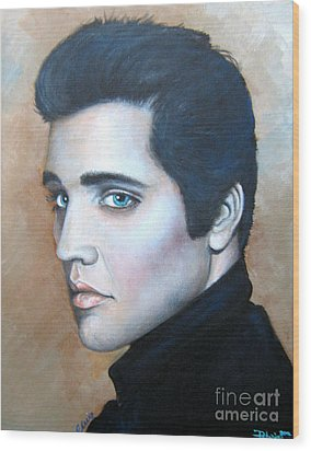 Wood Print featuring the painting Elvis by Patrice Torrillo