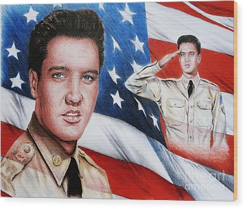 Elvis Patriot  Wood Print by Andrew Read