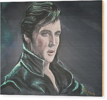 Wood Print featuring the mixed media Elvis by Peter Suhocke
