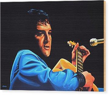 Elvis Presley 2 Painting Wood Print by Paul Meijering