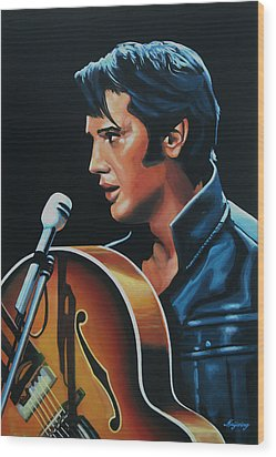 Elvis Presley 3 Painting Wood Print by Paul Meijering