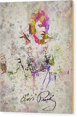 Elvis Presley Wood Print by Aged Pixel