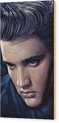 Elvis Presley Artwork 2 Wood Print by Sheraz A