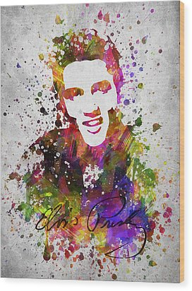 Elvis Presley In Color Wood Print by Aged Pixel