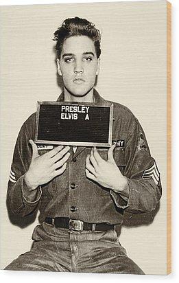 Elvis Presley - Mugshot Wood Print by Bill Cannon