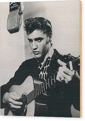 Elvis Presley Plays And Sings Into Old Microphone Wood Print by Retro Images Archive
