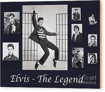 Elvis Presley - The Legend Wood Print
