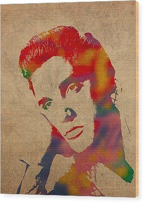 Elvis Presley Watercolor Portrait On Worn Distressed Canvas Wood Print by Design Turnpike
