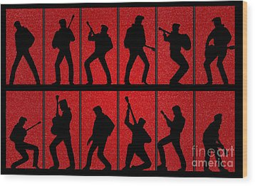 Elvis Silhouettes Comeback Special 1968 Wood Print by Liz Leyden