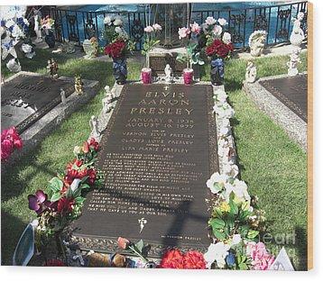 Elvis's Grave Wood Print by Deborah Smolinske