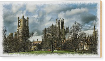 Ely Cathedral In Watercolors Wood Print by Joanna Madloch
