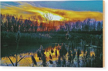 Emagin Sunset Wood Print by Daniel Thompson