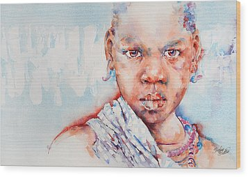 Embolden - African Portrait Wood Print by Stephie Butler