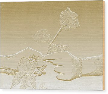 Embossed Gold Rose By Jan Marvin Studios Wood Print