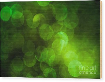 Emerald Bokeh Wood Print