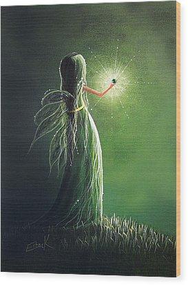 Emerald Fairy By Shawna Erback Wood Print by Shawna Erback