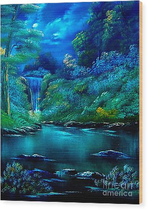 Emerald Falls 2 Wood Print by Cynthia Adams