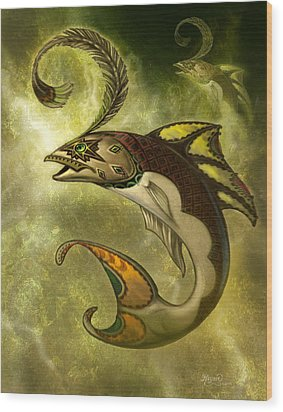 Emerald Fish Wood Print by Jeff Haynie