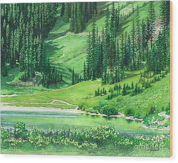 Emerald Lake Wood Print by Barbara Jewell
