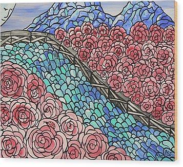Emerald River Roses Wood Print by Barbara St Jean