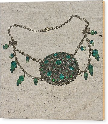 Emerald Vintage New England Glass Works Brooch Necklace 3632 Wood Print by Teresa Mucha