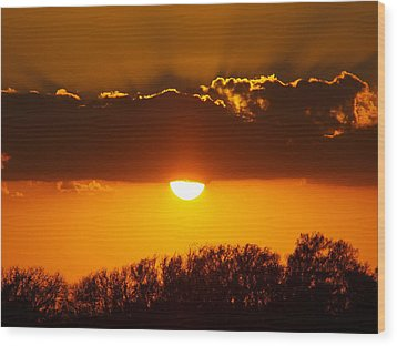 Emergence Of A Golden Sun Wood Print by James Granberry