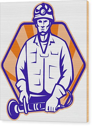 Emergency Worker With Angle Grinder Tool Retro Wood Print by Aloysius Patrimonio