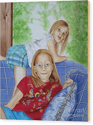Emi And Mackenzie Wood Print