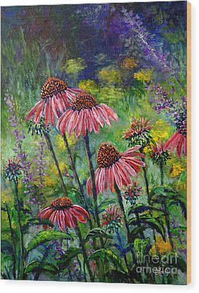 Wood Print featuring the painting Emily's Flowers by Lou Ann Bagnall