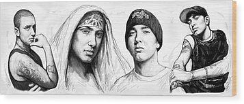 Eminem Art Drawing Sketch Poster Wood Print by Kim Wang