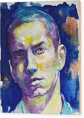 Eminem Wood Print by Laur Iduc