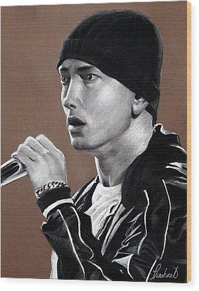 Eminem - Slimshady - Marshall Mathers - Portrait Wood Print by Prashant Shah