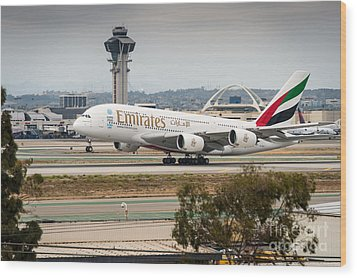 Emirates A380 Wood Print