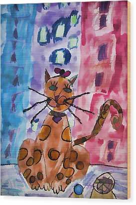 Emma's Spotted Kitty Wood Print by Alice Gipson