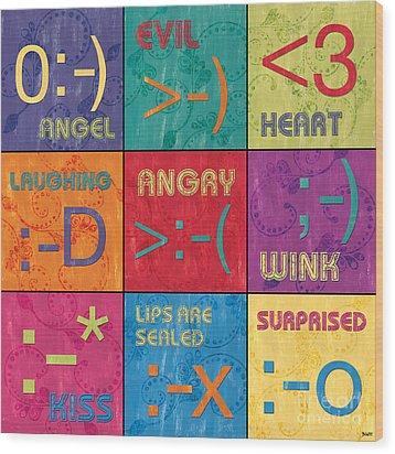 Emoticons Patch Wood Print by Debbie DeWitt
