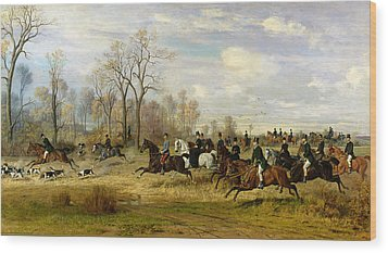 Emperor Franz Joseph I Of Austria Hunting To Hounds With The Countess Larisch In Silesia Wood Print by Emil Adam