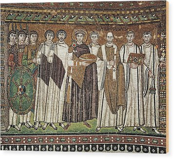 Emperor Justinian And His Court. Ca Wood Print by Everett