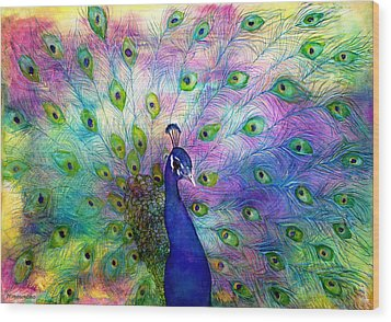 Emperor Peacock Wood Print by Janet Immordino